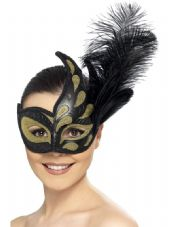 Ornate Colombina Eye Mask In Gold And Black